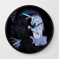 starwars Wall Clocks featuring Starwars with unicorns (black) by Jonah Makes Artstuff