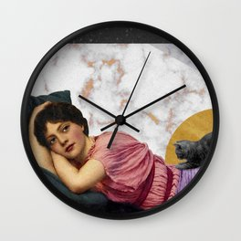 Marble Cat Woman Gold Wall Clock