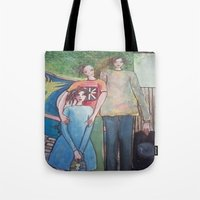 union jack Tote Bags featuring union jack by helendeer