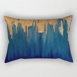 Gold Leaf & Blue Abstract Rectangular Pillow