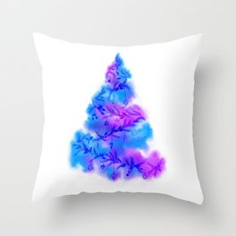 Music Watercolor Christmas Tree Throw Pillow