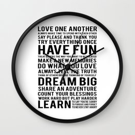 """Inspirational Quote """"Family Rules"""" Subway Stlye Family Typography Nursery Print Motivational Quote Wall Clock"""