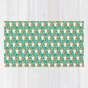 Cute corgi illustration on turquoise background pattern by phuonganh