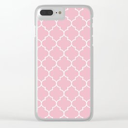 Moroccan Trellis, Latticework - Pink White Clear iPhone Case