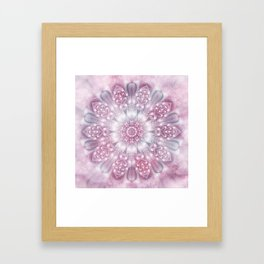 Dreams Mandala in Pink, Grey, Purple and White Framed Art Print