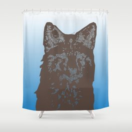 Fox Woodcut Shower Curtain