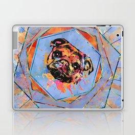 Pug dog portrait abstract mixed media Laptop & iPad Skin