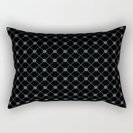 PPG Night Watch Pewter Green Thin Line Stripe Grid (Pinstripe) and Polka Dots on Black Rectangular Pillow