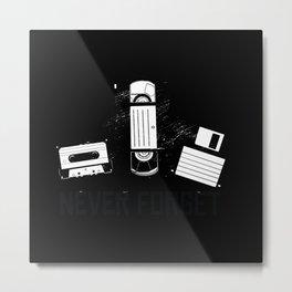 Retro VHS, Floppy Disk, Cassette Metal Print