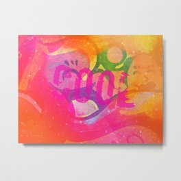 Cool colorful graffiti print in electric bright tones with two strange faces Metal Print