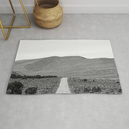 Road Outta Town // Black and White Landscape Photograph Going Out to Nowhere Peaceful Scenery Rug