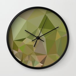 Dark Olive Green Abstract Low Polygon Background Wall Clock