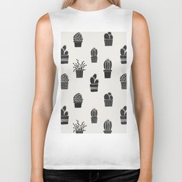 Southwestern Stamped Potted Cactus + Succulents Biker Tank