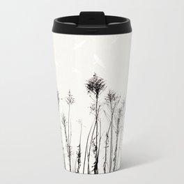 Dried Tall Plants and Flying White Birds Metal Travel Mug