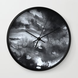 Abstract Ink, black and white watercolor Wall Clock