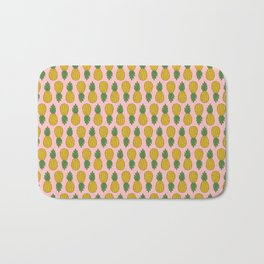 Tropical Pineapples on Pink Bath Mat