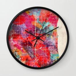 Kenosha map Wisconsin painting 2 Wall Clock