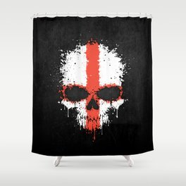 Flag of England on a Chaotic Splatter Skull Shower Curtain