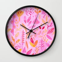 flora Wall Clocks featuring Flora by messy bed studio