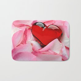 Rose Petals with red glossy Heart Bath Mat