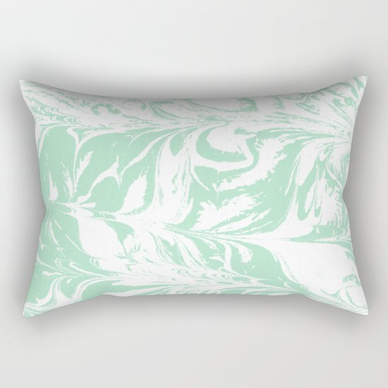 Asa - spilled ink mint marble japanese watercolor marbling marbled water wave ocean sea minimal Rectangular Pillow