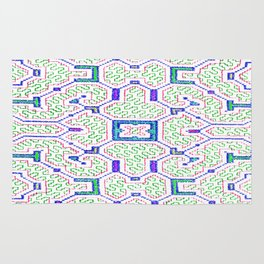 The Song to Support Spiritual Growth - Traditional Shipibo Art - Indigenous Ayahuasca Patterns Rug