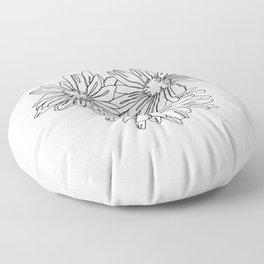 Daisy flowers line drawing - Nina I Floor Pillow