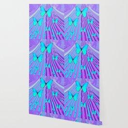 MIGRATING NEON BLUE BUTTERFLIES & PURPLE  ART Wallpaper