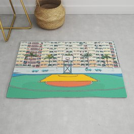 Ball is life - Baseball court Palmtrees Rug