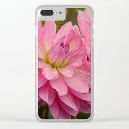 Fresh Rain Drops - Pink Dahlia Clear iPhone Case