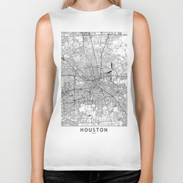 Houston White Map Biker Tank
