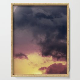 Dramatic Storm Clouds at Sunset Serving Tray