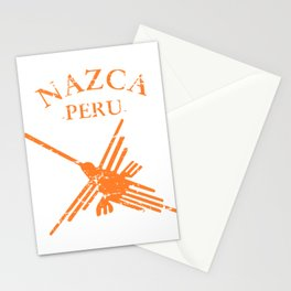 Orange Nazca Lines Hummingbird Distressed Stationery Cards