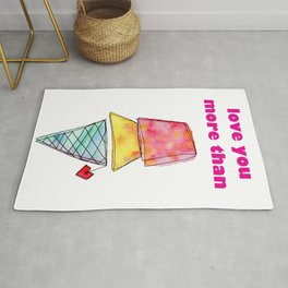Love You More Than Ice Cream Pattern Humor Quote Food Illustration Love Painting Rug