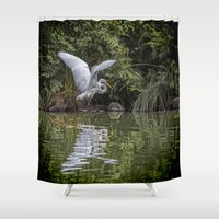 hunting Shower Curtains featuring Egret Hunting by Chris Lord