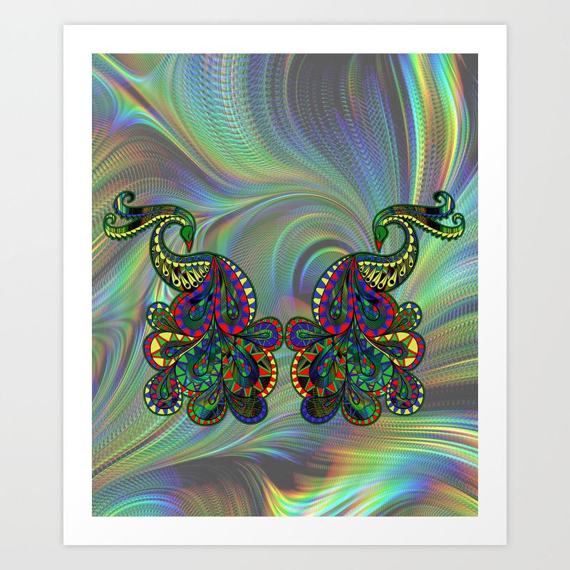 Fantasy Peacock Drawing Art Print