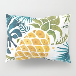 Golden pineapple on palm leaves foliage Pillow Sham
