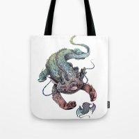 dragon Tote Bags featuring dragon by luiza kwiatkowska
