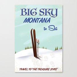 big sky Montana ski vintage travel poster Canvas Print