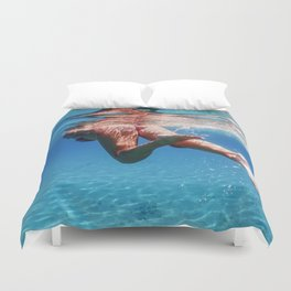 Active Woman Swimming in Transparent Blue Sea, Underwater Woman  in the Tropical Sea, summer vacatio Duvet Cover