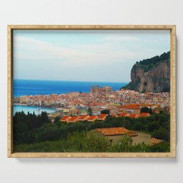 Cityscape of Cefalu Italy Serving Tray