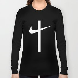 Swoosh Cross (... And Deliver Us From Evil) / White Long Sleeve T-shirt