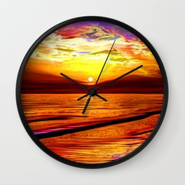Sunset in Liverpool Bay Wall Clock