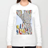 seattle Long Sleeve T-shirts featuring Seattle by Mondrian Maps