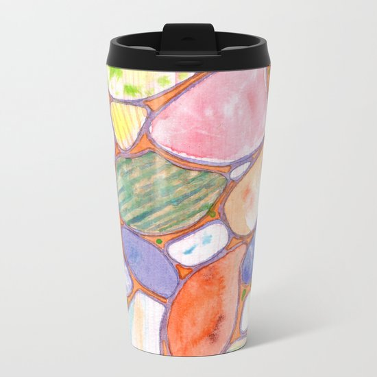 Friendly Colorful Pebbles Pattern Metal Travel Mug