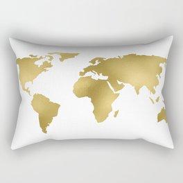 Gold Foil Map - Metallic Globe Design Rectangular Pillow