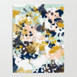 Sloane - Abstract painting in modern fresh colors navy, mint, blush, cream, white, and gold Poster