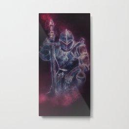 Medieval Knight Templar in Purple Smoke Metal Print