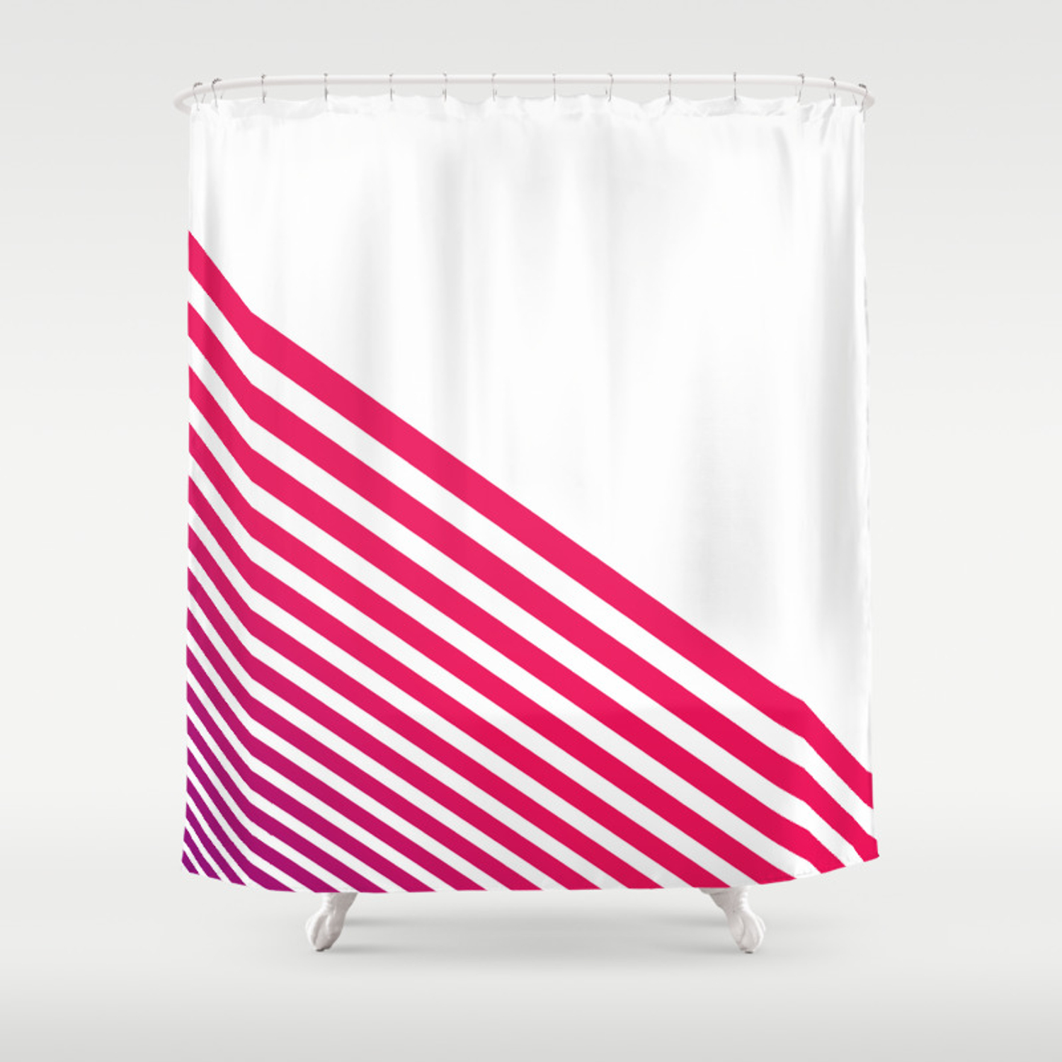 Modern Pinkish Red Linear Stripes And White Shower Curtain
