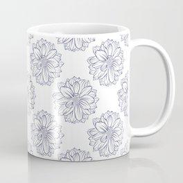 Blue Dahlia Pattern Coffee Mug